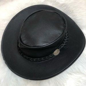 8748acc4 Aussie Bush   Genuine Kangaroo Skin Leather Hat
